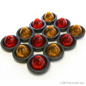 12 New 2 Led Beehive Side Clearance Marker Lights Grommet Wiring 6 Red 6 Amber