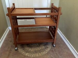 Vtg Mid Century Modern Teak Bar Tea Serving Cart 3 Tier Sliding Removable Trays