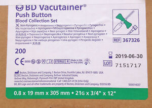 Case Of 200 Bd Vacutainer Push Button Blood Collection Set Model 367326