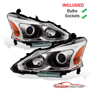 2013 2015 Replacement Halogen Headlight Pair For Nissan Altima 4dr Sedan W bulbs