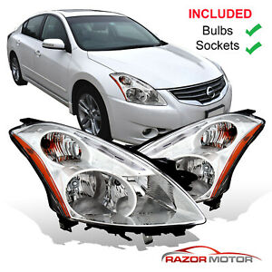 2010 2012 Replacement Halogen Headlight Pair For Nissan Altima 4dr Sedan W Bulbs