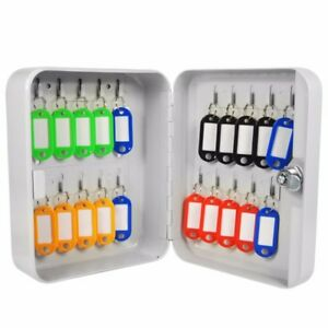 Key Cabinet Safe Lockable Security Metal Storage Box 20 Tags Fobs Wall Mounted