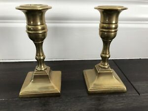 Small Square Base Candlestick Pair Brass Antique 19thc Neoclassical Style