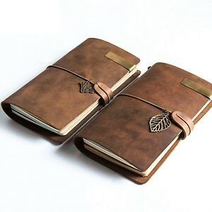 Vintage Genuine Leather Notebook Diary Travel Journal Planner Sketchbook Gifts