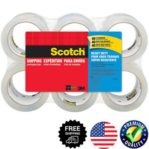 Scotch Heavy Duty Packaging Tape 6 P Rolls Clear Shipping Sealing Moving Mailing
