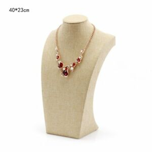 Wershow Beige Linen Necklace Bust Jewelry Display Stand Figure Jewelry Displa