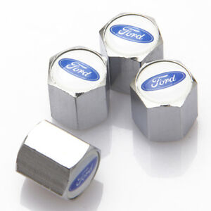 4x Universal Car Auto Tyre Valve Stems Caps Tire Dust Covers Logo Fit For Ford