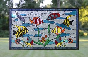 Fish Under The Sea Handcrafted Stained Glass Window Panel 34 5 X 20 5