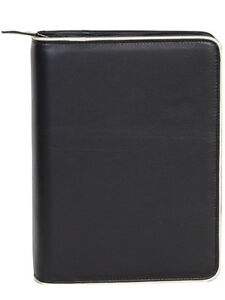 scully Leather 2110z Black Buttercalf 3 ring Zipper Planner