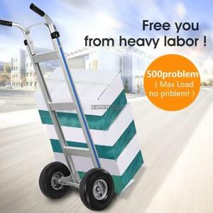500 Lb Capacity Hand Truck Heavy Duty 10 Rubber Wheels Dolly Moving Cart Boxes