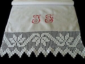 Fab Huge Antique Victorian Linen Lace Show Towel Hand Loomed Redwork Embroidered