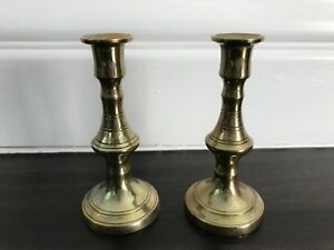 Pair Miniature Victorian Brass Candlesticks Antique Early 20th