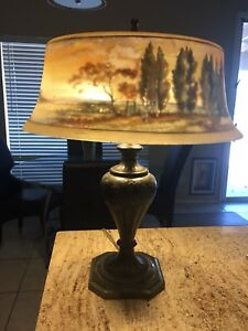 Antique Reverse Painted Pairpoint Lamp