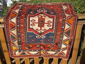 Antique Caucasian Dated Fakhrallou Kazak 1320 1902 Prayer Rug
