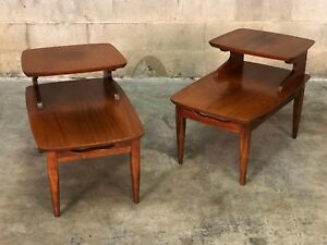Walnut Mid Century Modern 2 Tier End Tables Nightstands A Pair