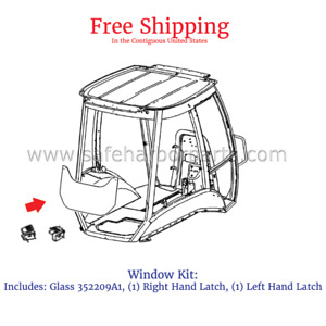 Case 87434783 Backhoe 580m Rear Center Window Kit includes Latches