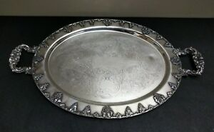 Antique Federal Silver Co Silverplate Grape Motif Pattern 22 Butler Tray