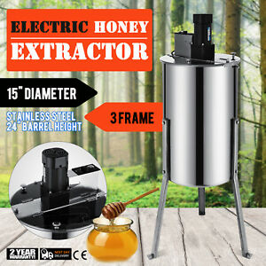 3 Frame Electric Honey Extractor Plastic Gate Stainless Steel 2 Clear Lids