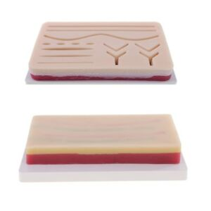 2x Suture Training Kits Human Traumatic Skin Suture Practice 3 layer Pads