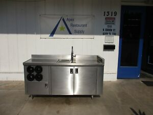 Stainless Steel Table W cabinets Sink Cup Dispensers 3321