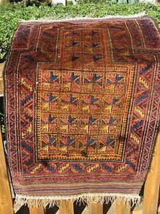 Antique 1900 Amazing Baluch Small Prayer Rug Great Colors