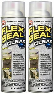 Flex Seal Spray Rubber Sealant Coating 2 Pack 14oz Clear Stops Leaks New