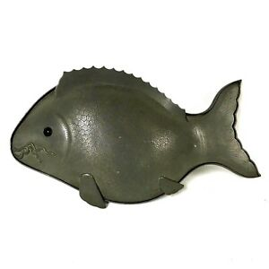 Chinese Pewter Fish Covered Serving Dish Tureen