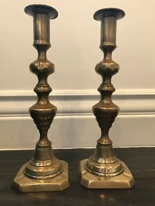Pair Tall Beehive Brass Candlesticks Antique Victorian 19th C W Old Pushers