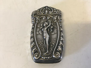 Antique Fs Gilbert Sterling Silver Match Safe Vesta Case Repousse Nude Woman Sea