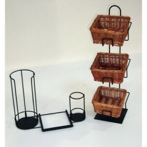 3 Tier 3 Square Willow Basket Counter Display Rack With Lid Stir Stick Holder
