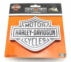 Harley Davidson Brushed Aluminum Trailer Hitch Plug Cover Universal Receiver