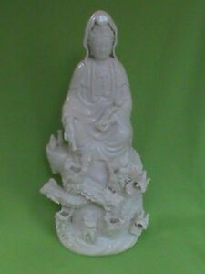 16 Inch Porcelain Kuan Yin With 9 Dragons Statue Drip Fountain Pre Owned