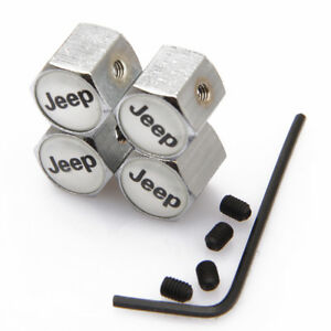 Modified Wheel Tire Valve Stems Caps Anti Theft Locking For Jeep W Silver Js347