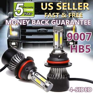 9007 Hb5 Led Headlights Conversion Kit 2000w 320000lm High Low Beam Bulbs 6500k