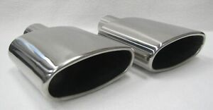 2 5 In X 6 0 X 2 90 Out X 9 40 L Polished Stainless Oval Round Exhaust Tips