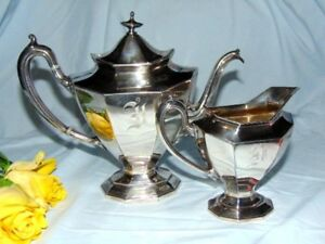 Vintage Antique Reed Barton 3690 Silver Plate Tea Pot Creamer Vgc