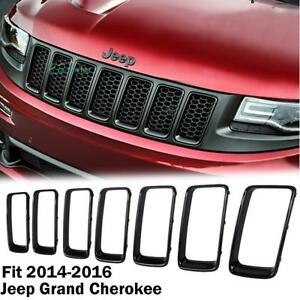 For Jeep Grand Cherokee 2014 2018 Gloss Black Front Grille Trim Insert Guard Abs