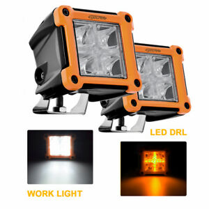 Led Light Pods Spot Beam Fog Lamp W Drl 3 2 Inch 20w Philips Lumen Chips Amber