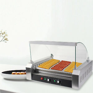 New Commercial 30 Hot Dog 11 Roller Grill Cooker Machine Sausage Machine W cover
