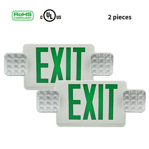 2pc Green Led Exit Sign Emergency Light Square Head Combo Emergency Equipment
