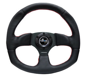 Nrg 320mm Racing Sport Steering Wheel Black Leather Red Stich