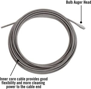 Plumbing Cable Drain Cleaning Bulb Auger For K 40 K 45 Sinks 5 16 In X 35 Ft