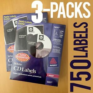 Three 3 Packs 750 Labels 3new Avery Laser Cd Labels 250 pack 5697 Free Ship