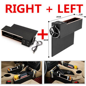 Universal Car Coin Phone Storage W Cup Holder 4usb Charger Organizer Left