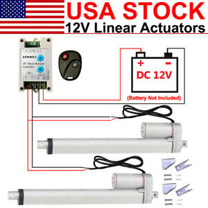 2 Dual Dc 12v Electric Linear Actuator W Wireless Motor Controller Brackets Set