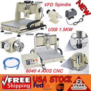 Usb 1 5kw 6040 4 Axis Cnc Router Engraver Milling Drilling Machine Vfd Spindle