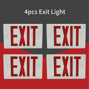 4pc Led Emergency Exit Light Sign Red Indoor Modern Battery Backup Ul Listed