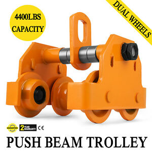 2 Ton Push Beam Track Roller Trolley Overhead Winch Crane Lift