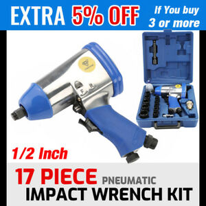 17pc 1 2 Drive Air Impact Wrench With 10 1 2 Dr Sockets 1extension Bar Oiler Oy