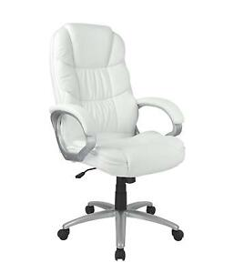 White High Back Leather Executive Office Desk Task Computer Chair W metal Base